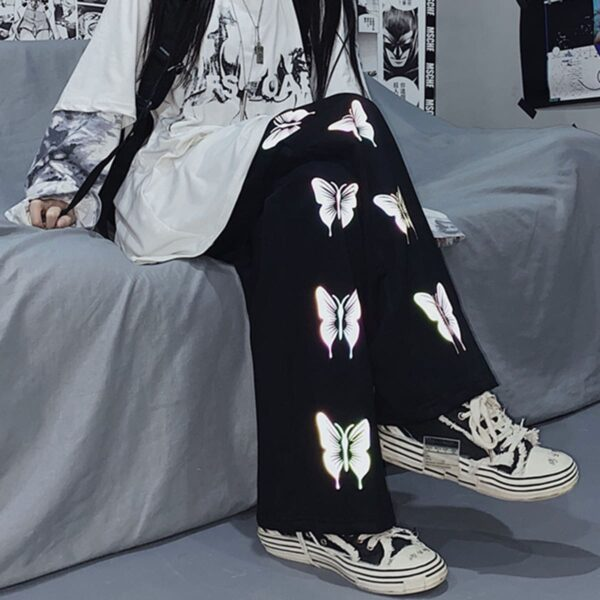 Light Reflective Butterflies Pants.1- Orezoria Aesthetic Outfits Shop - Aesthetic Clothing - eGirl Outfits - Soft Girl Outfits
