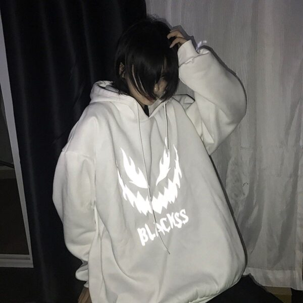 Light Reflective Creepy Face Hoodie - Orezoria Aesthetic Outfits Shop - Aesthetic Clothing - eGirl Outfits - Soft Girl Outfits.psd