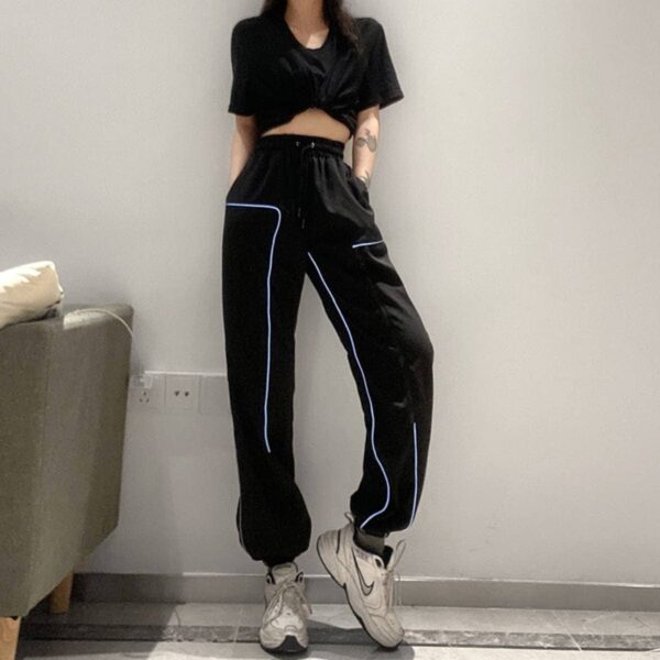 Light Reflective Lines Loose Workout Pants.1- Orezoria Aesthetic Outfits Shop - Aesthetic Clothing - eGirl Outfits - Soft Girl Outfits