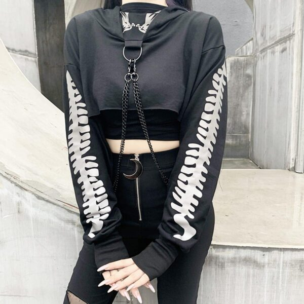 Light Reflective Spine Sleeve Goth Hoodie 2- Orezoria Aesthetic Outfits Shop - Aesthetic Clothing - eGirl Outfits - Soft Girl Outfits