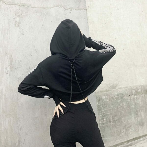 Light Reflective Spine Sleeve Goth Hoodie 4- Orezoria Aesthetic Outfits Shop - Aesthetic Clothing - eGirl Outfits - Soft Girl Outfits