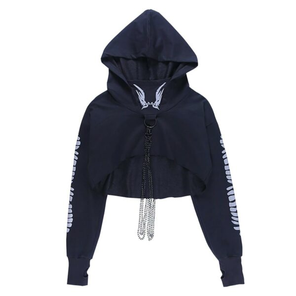 Light Reflective Spine Sleeve Goth Hoodie 5- Orezoria Aesthetic Outfits Shop - Aesthetic Clothing - eGirl Outfits - Soft Girl Outfits