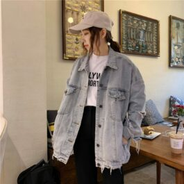 Light Washed Y2K Aesthetic Denim Jacket.1- Orezoria Aesthetic Outfits Shop - Aesthetic Clothing - eGirl Outfits - Soft Girl Outfits