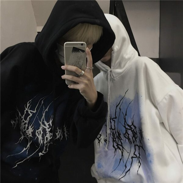 Lightning Dark Korean Grunge Hoodie.1- Orezoria Aesthetic Outfits Shop - Aesthetic Clothing - eGirl Outfits - Soft Girl Outfits