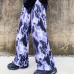 Lightning Print Grunge Aesthetic Wide Pants 1- Orezoria Aesthetic Outfits Shop - Aesthetic Clothing - eGirl Outfits - Soft Girl Outfits