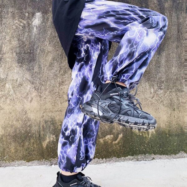 Lightning Print Grunge Aesthetic Wide Pants 3- Orezoria Aesthetic Outfits Shop - Aesthetic Clothing - eGirl Outfits - Soft Girl Outfits