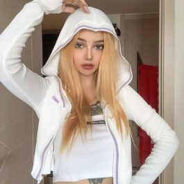 Lined White Bounty Crop Hoodie 1 - Orezoria Aesthetic Outfits Shop - Aesthetic Clothing - eGirl Outfits - Soft Girl Outfits