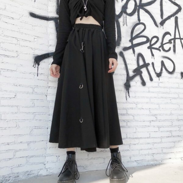 Long Black Strap Core High Waist Skirt 1- Orezoria Aesthetic Outfits Shop - Aesthetic Clothing - eGirl Outfits - Soft Girl Outfits