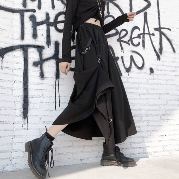 Long Black Strap Core High Waist Skirt 2- Orezoria Aesthetic Outfits Shop - Aesthetic Clothing - eGirl Outfits - Soft Girl Outfits