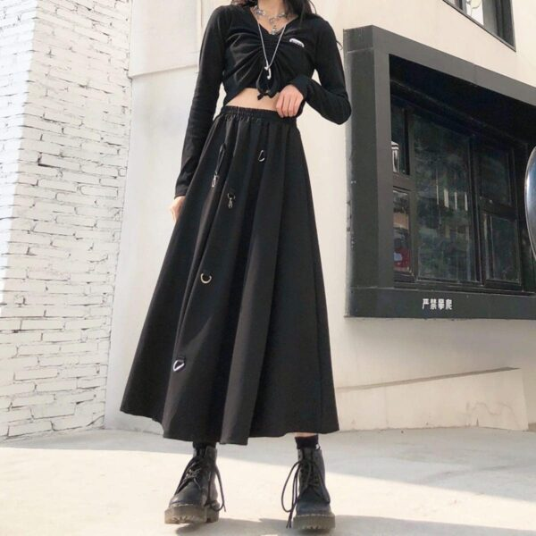 Long Black Strap Core High Waist Skirt 3- Orezoria Aesthetic Outfits Shop - Aesthetic Clothing - eGirl Outfits - Soft Girl Outfits