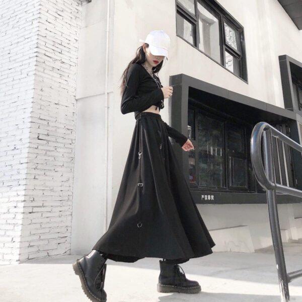 Long Black Strap Core High Waist Skirt 4- Orezoria Aesthetic Outfits Shop - Aesthetic Clothing - eGirl Outfits - Soft Girl Outfits