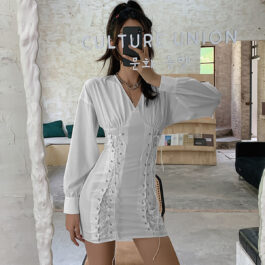 Long Corset White Puff Sleeve Dress.1- Orezoria Aesthetic Outfits Shop - Aesthetic Clothing - eGirl Outfits - Soft Girl Outfits
