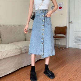 Long High Waisted Asymmetrical Skirt.1- Orezoria Aesthetic Outfits Shop - Aesthetic Clothing - eGirl Outfits - Soft Girl Outfits