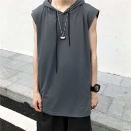 Long Loose Sleeveless Hooded Vest 1- Orezoria Aesthetic Outfits Shop - Aesthetic Clothing - eGirl Outfits - Soft Girl Outfits