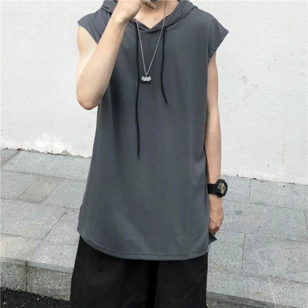 Long Loose Sleeveless Hooded Vest 3- Orezoria Aesthetic Outfits Shop - Aesthetic Clothing - eGirl Outfits - Soft Girl Outfits