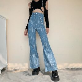 Ripped High Wasit Retro Flared Jeans 1- Orezoria Aesthetic Outfits Shop - Aesthetic Clothing - eGirl Outfits - Soft Girl Outfits