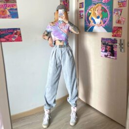 Loose High Waist Gray Jazz Pants 2- Orezoria Aesthetic Outfits Shop - Aesthetic Clothing - eGirl Outfits - Soft Girl Outfits