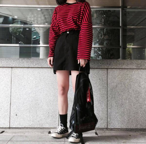 Loose Striped Korean Style Long Sleeve 1- Orezoria Aesthetic Outfits Shop - Aesthetic Clothing - eGirl Outfits - Soft Girl Outfits