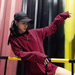 Loose Striped Korean Style Long Sleeve 3- Orezoria Aesthetic Outfits Shop - Aesthetic Clothing - eGirl Outfits - Soft Girl Outfits