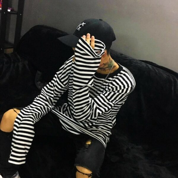 Loose Striped Korean Style Long Sleeve 4- Orezoria Aesthetic Outfits Shop - Aesthetic Clothing - eGirl Outfits - Soft Girl Outfits