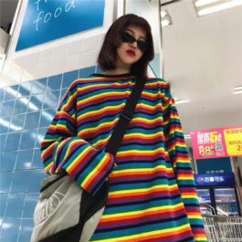Loose Striped Rainbow Aesthetic Long Sleeve - Orezoria Aesthetic Outfits Shop - Aesthetic Clothing - eGirl Outfits - Soft Girl Outfits.psd