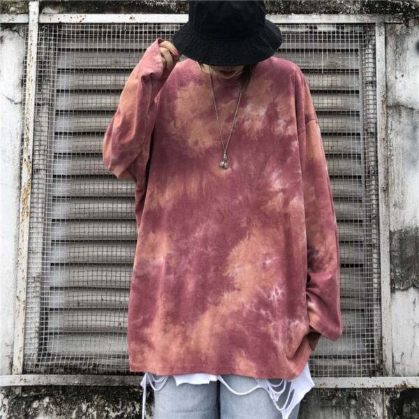 Mars Red Sky Tie Dye Long Sleeve - Orezoria Aesthetic Outfits Shop - Aesthetic Clothing - eGirl Outfits - Soft Girl Outfits.psd
