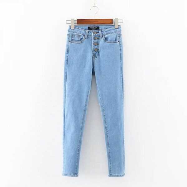 Multi-Buttons High Waist Skinny Jeans 4 - Orezoria Aesthetic Outfits Shop - Aesthetic Clothing - eGirl Outfits - Soft Girl Outfits