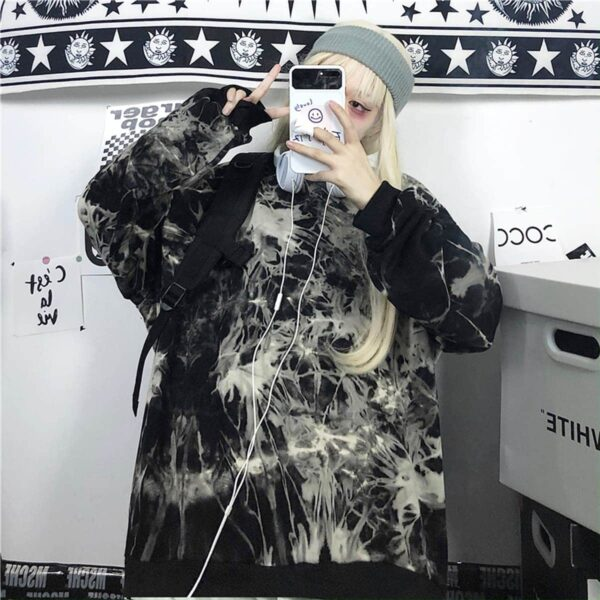 Mushroom Mind Black Tie Dye Sweatshirt 1 - Orezoria Aesthetic Outfits Shop - Aesthetic Clothing - eGirl Outfits - Soft Girl Outfits