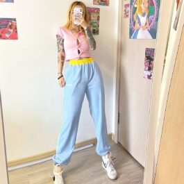 My Baby Made It Light Blue Loose Pants 1 - Orezoria Aesthetic Outfits Shop - Aesthetic Clothing - eGirl Outfits - Soft Girl Outfits