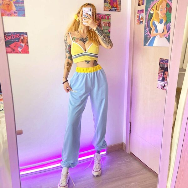 My Baby Made It Light Blue Loose Pants 3 - Orezoria Aesthetic Outfits Shop - Aesthetic Clothing - eGirl Outfits - Soft Girl Outfits
