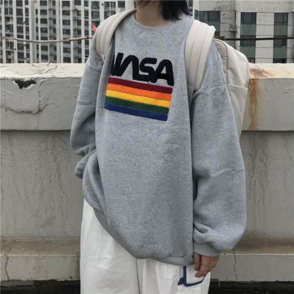 NASA Fluff Rainbow Flag Sweatshirt 2- Orezoria Aesthetic Outfits Shop - Aesthetic Clothing - eGirl Outfits - Soft Girl Outfits
