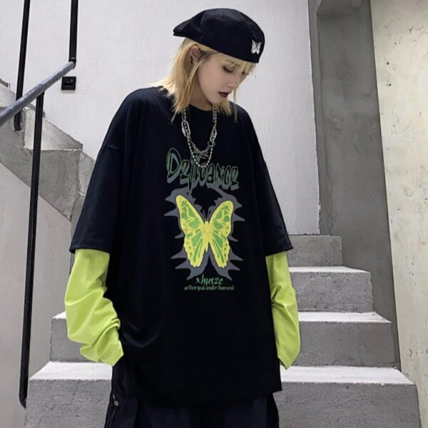 Neon Green Butterfly Long Sleeve 1- Orezoria Aesthetic Outfits Shop - Aesthetic Clothing - eGirl Outfits - Soft Girl Outfits.psd