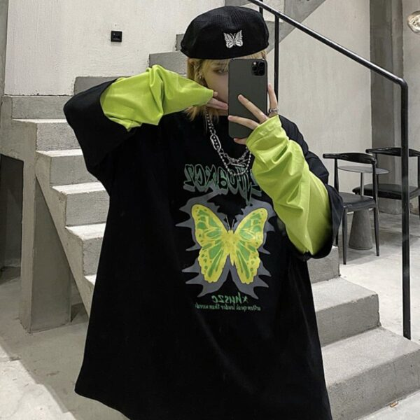 Neon Green Butterfly Long Sleeve 4 - Orezoria Aesthetic Outfits Shop - Aesthetic Clothing - eGirl Outfits - Soft Girl Outfits.psd