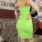 Neon Green Neck Chain Short Dress 2 - Orezoria Aesthetic Outfits Shop - Aesthetic Clothing - eGirl Outfits - Soft Girl Outfits