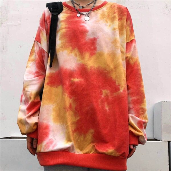 Nether Lava Tie Dye Loose Sweatshirt.1- Orezoria Aesthetic Outfits Shop - Aesthetic Clothing - eGirl Outfits - Soft Girl Outfits