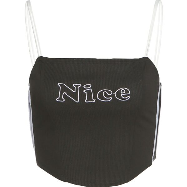 Nice Embroidery Spaghetti Strap Crop Top 4 - Orezoria Aesthetic Outfits Shop - Aesthetic Clothing - eGirl Outfits - Soft Girl Outfits