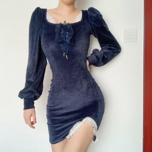 Night Blue Dress Cottagecore Aesthetic 3 - Orezoria Aesthetic Outfits Shop - Aesthetic Clothing - eGirl Outfits - Soft Girl Outfits.psd