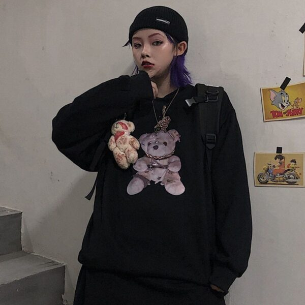 Noose Knot Bear Grunge Style Sweatshirt.1- Orezoria Aesthetic Outfits Shop - Aesthetic Clothing - eGirl Outfits - Soft Girl Outfits