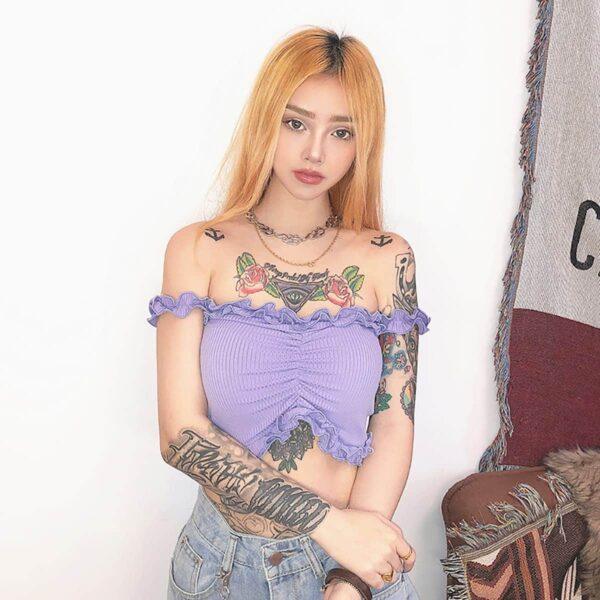 Off Shoulder Hard Ruffle Crop Top 4- Orezoria Aesthetic Outfits Shop - Aesthetic Clothing - eGirl Outfits - Soft Girl Outfits