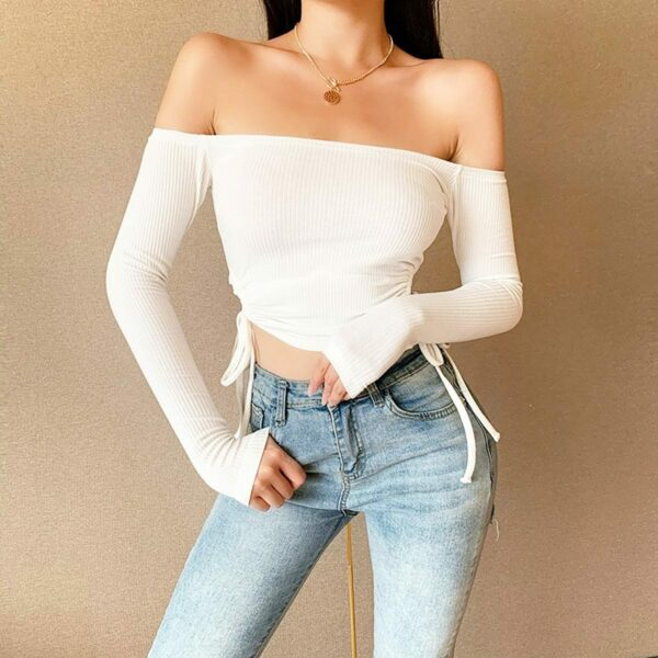 Off Shoulder Vertical Lined Long Sleeve 1- Orezoria Aesthetic Outfits Shop - Aesthetic Clothing - eGirl Outfits - Soft Girl Outfits