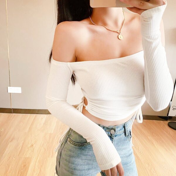 Off Shoulder Vertical Lined Long Sleeve 3- Orezoria Aesthetic Outfits Shop - Aesthetic Clothing - eGirl Outfits - Soft Girl Outfits