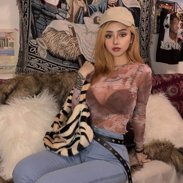 Old Sky Map Mesh Long Sleeve Top 3 - Orezoria Aesthetic Outfits Shop - Aesthetic Clothing - eGirl Outfits - Soft Girl Outfits.psd