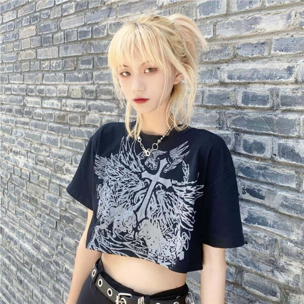 Old Testament Angel Cropped Top 1- Orezoria Aesthetic Outfits Shop - Aesthetic Clothing - eGirl Outfits - Soft Girl Outfits