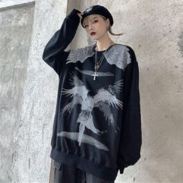 Old Testament Angel Loose Sweatshirt 1 - Orezoria Aesthetic Outfits Shop - Aesthetic Clothing - eGirl Outfits - Soft Girl Outfits