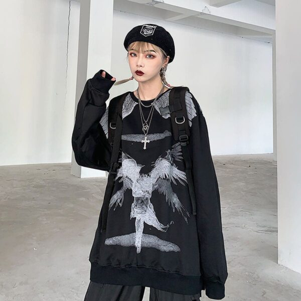Old Testament Angel Loose Sweatshirt 2 - Orezoria Aesthetic Outfits Shop - Aesthetic Clothing - eGirl Outfits - Soft Girl Outfits