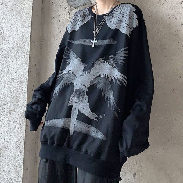 Old Testament Angel Loose Sweatshirt 3 - Orezoria Aesthetic Outfits Shop - Aesthetic Clothing - eGirl Outfits - Soft Girl Outfits