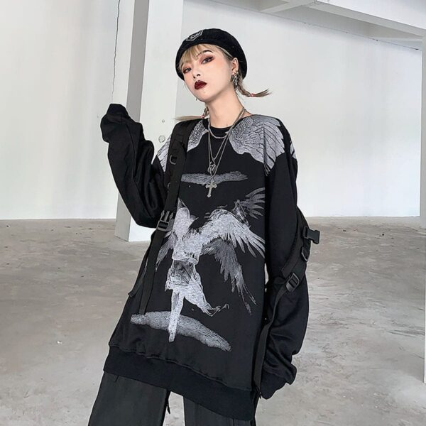 Old Testament Angel Loose Sweatshirt 4 - Orezoria Aesthetic Outfits Shop - Aesthetic Clothing - eGirl Outfits - Soft Girl Outfits