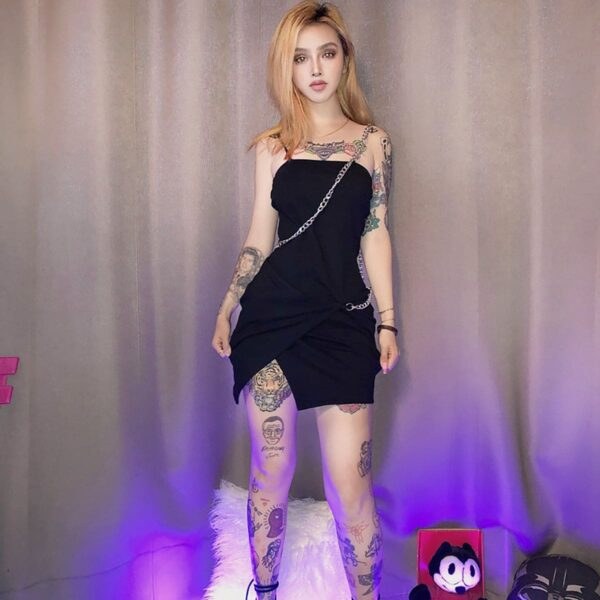 One Shoulder Chain Short Black Dress 2- Orezoria Aesthetic Outfits Shop - Aesthetic Clothing - eGirl Outfits - Soft Girl Outfits
