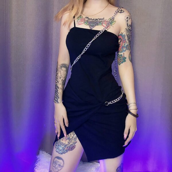 One Shoulder Chain Short Black Dress 3- Orezoria Aesthetic Outfits Shop - Aesthetic Clothing - eGirl Outfits - Soft Girl Outfits