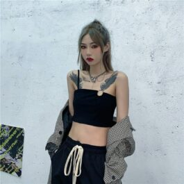 One Shoulder Chain Strap Crop Top - Orezoria Aesthetic Outfits Shop - Aesthetic Clothing - eGirl Outfits - Soft Girl Outfits.psd